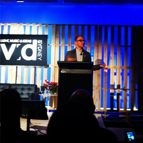 Cory Doctorow on the lectern at Vivid Ideas